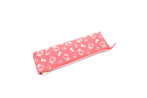 【新作】キティ印傳 ペンケース 赤/白 りんご柄