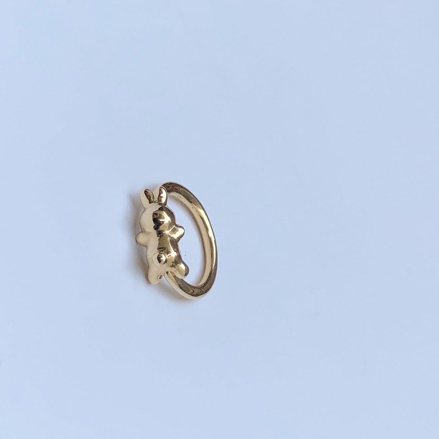 RABBIT CHARMのsnap RING body jewelry ® K10YG #0006 うさぎボディピアス・チャーム/10金イエローゴールド