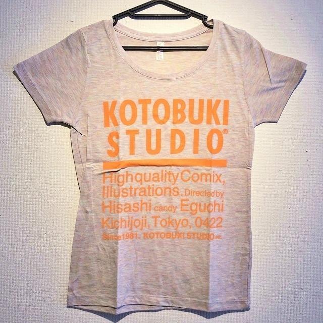 江口寿史 「KOTOBUKI STUDIO」レディースTシャツ(オーロラヘザー×オレンジ字)クリアファイル付き( ※色は選べません)