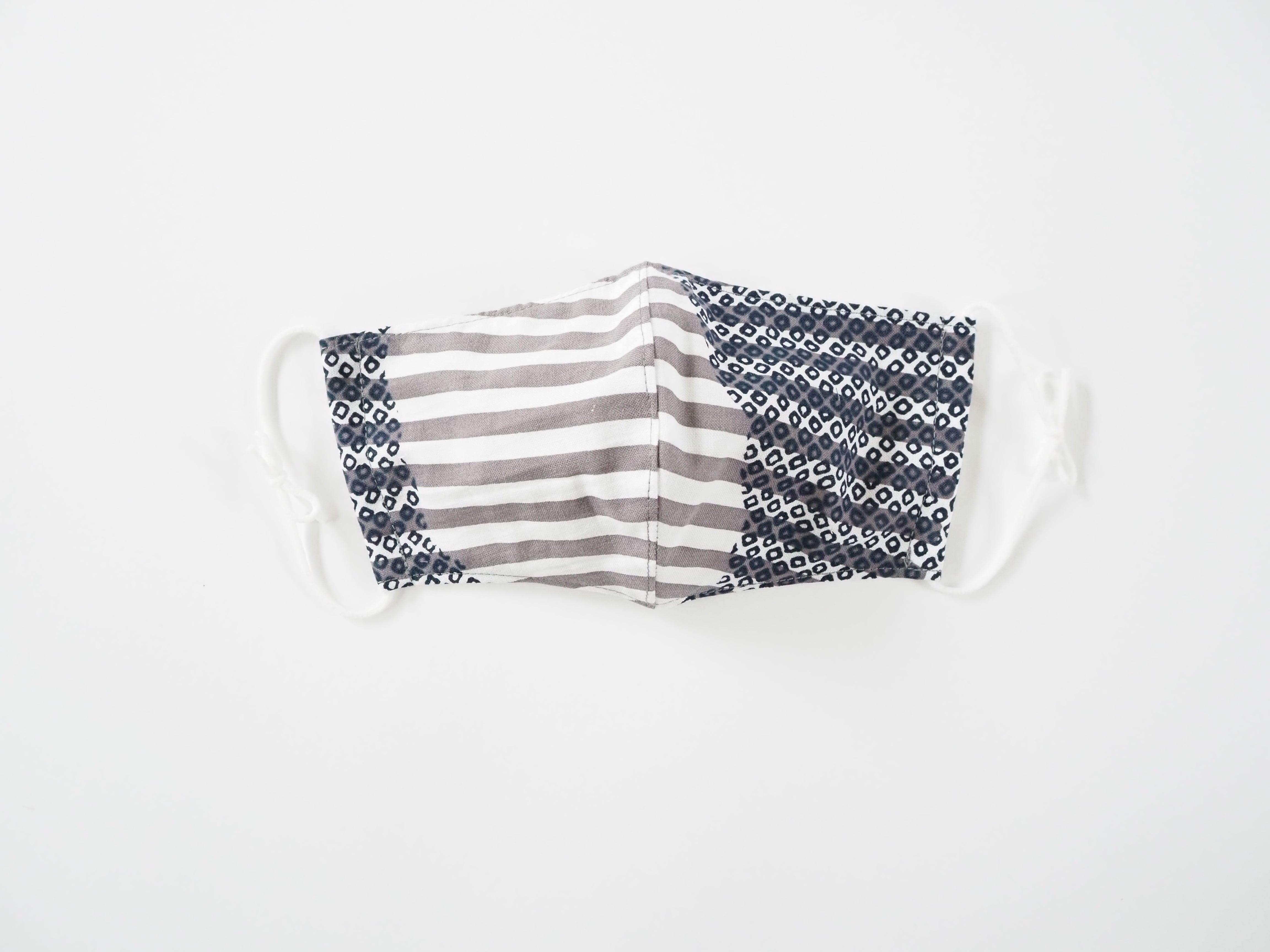 ケイコロール  大人マスク 「ねずの横段と納戸の疋田」 立体仕立て ダブルガーゼ仕様