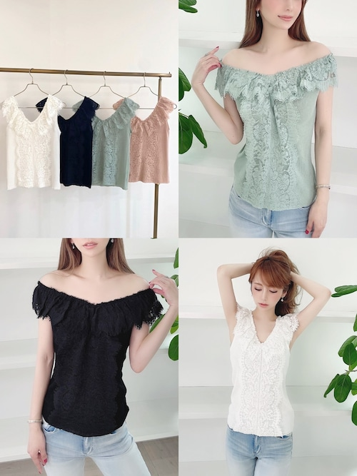 ★outletランクA★ mocoa'sデザインlace TOPS 定価¥6,380