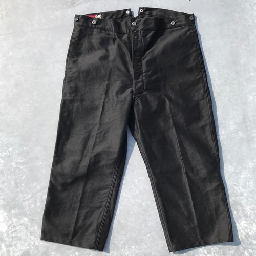40's 50's MAXIMUM ブラックモールスキン フレンチ ワークパンツ シンチバック 針刺し 極美品 ワイド W42 超希少 ヴィンテージ