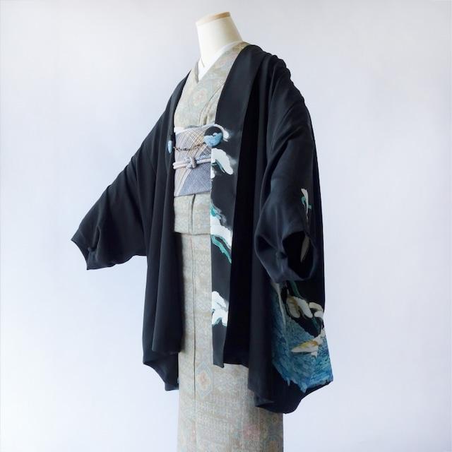 家紋ドレープ袖ジャケット(和洋兼用)黒留袖着物リメイク/月に八曜 月星紋