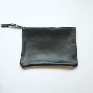 pouch L sheep leather × vintage linen