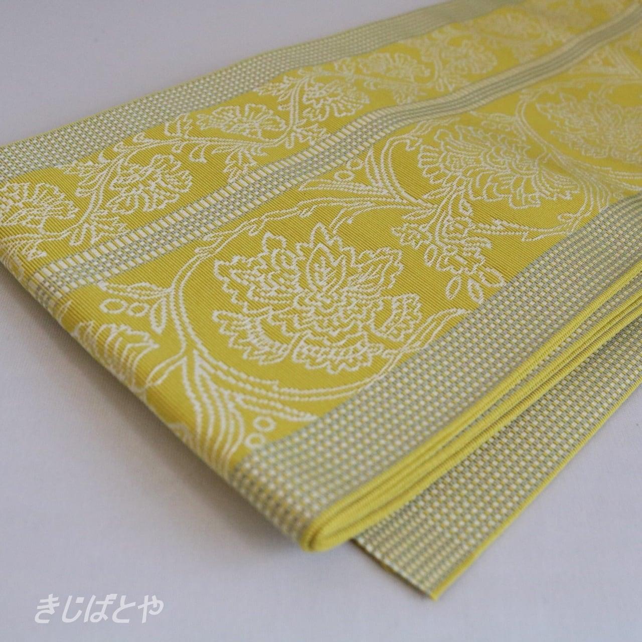 正絹博多織 更紗柄の半幅帯 鶸色