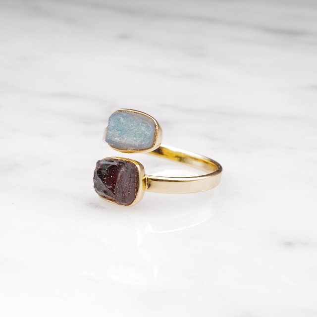 DOUBLE DIFFERENT STONE OPEN RING 004