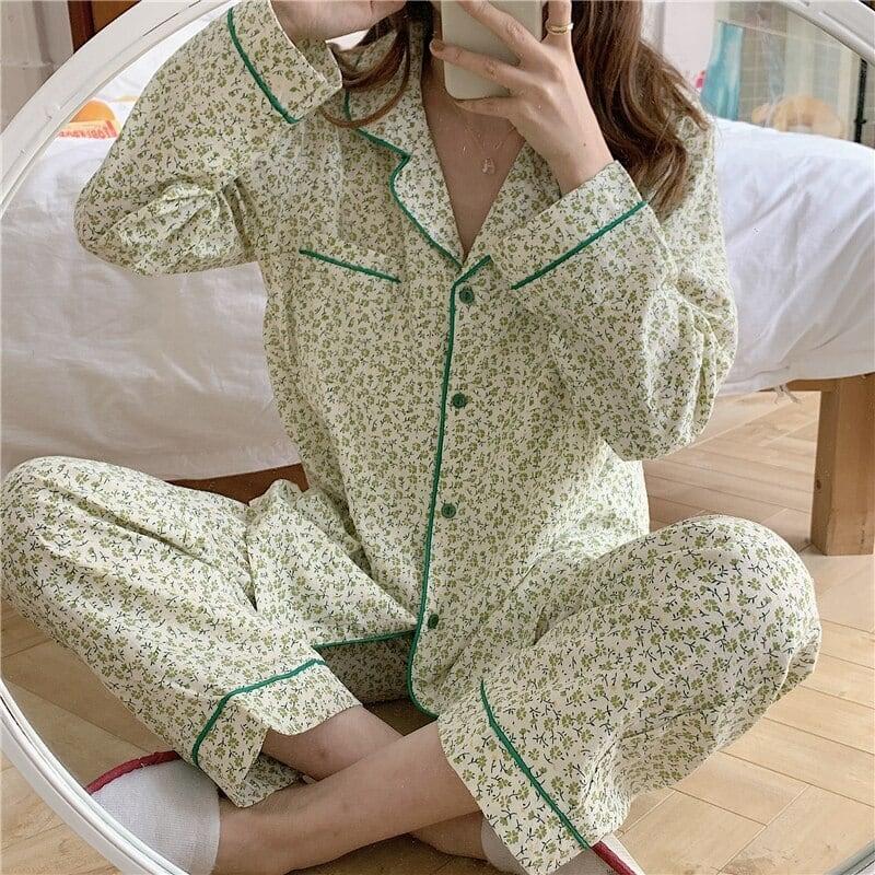 【パジャマ】フラワーラインカラーパジャマ(green)