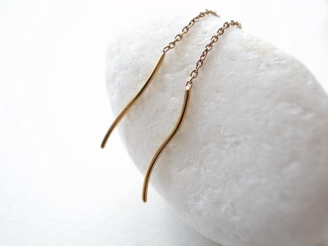 K18YG/yarn pierced earrings short