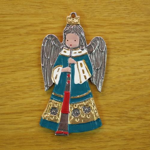 錫の飾り 縦笛と天使