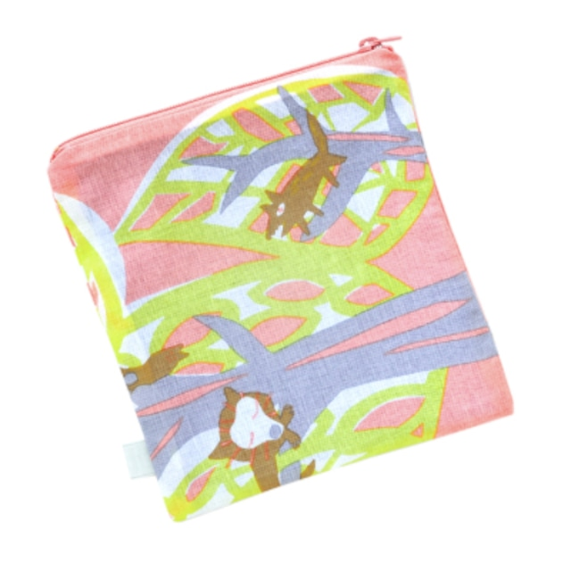 ひびのこづえ ファスナーポーチ(S) / 森の動物たち 京友禅浸透染 綿100% 日本製
