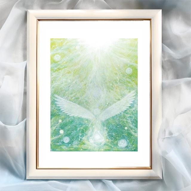 『地球の天使』【天使】太子サイズ 額入 ヒーリングアート