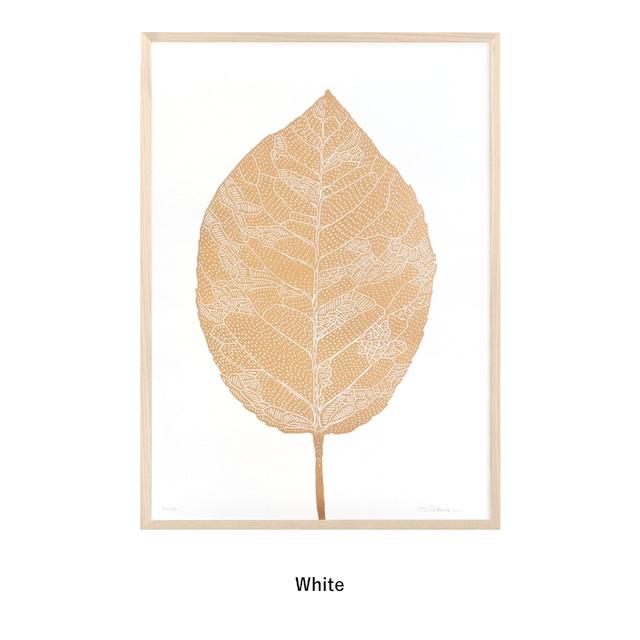 Monika Petersen  Lino Print ポスター  Birch Leaf Gold フレームセット