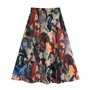 Oil painting slit skirt(オイルペインティングスリットスカート)b-402