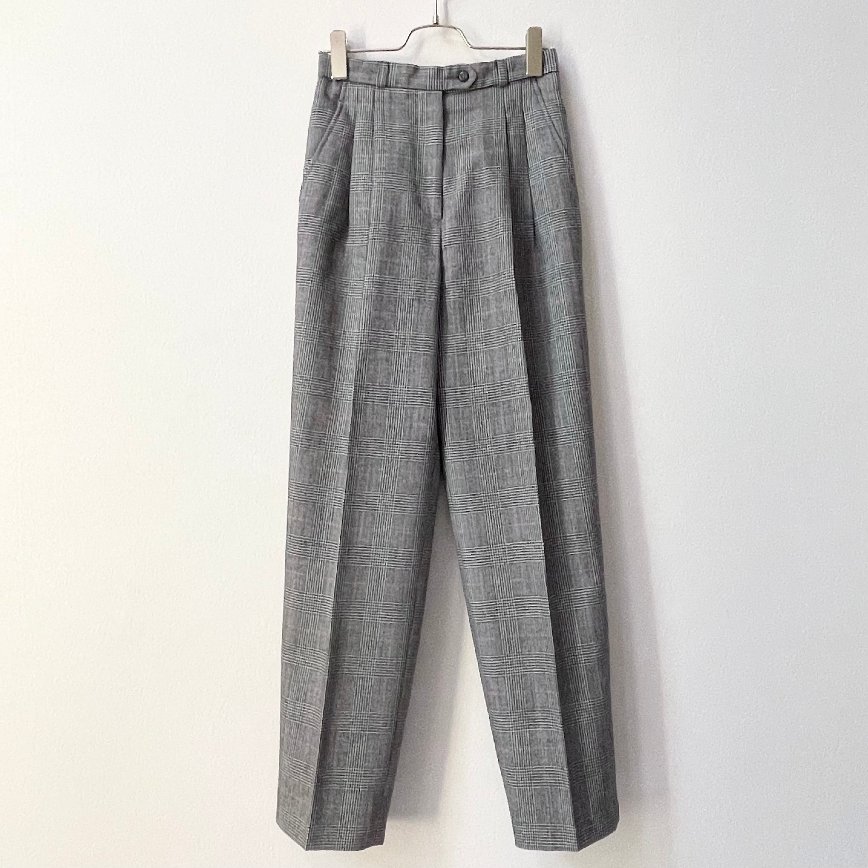 レディース グレンチェック柄 タック テーパード パンツ 80〜90年代 アメリカ古着