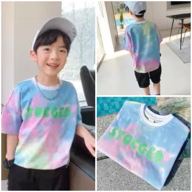 110~160cm ★ 夏カラー 男の子 Tシャツ 半袖 トップス 水彩柄 絵の具デザイン