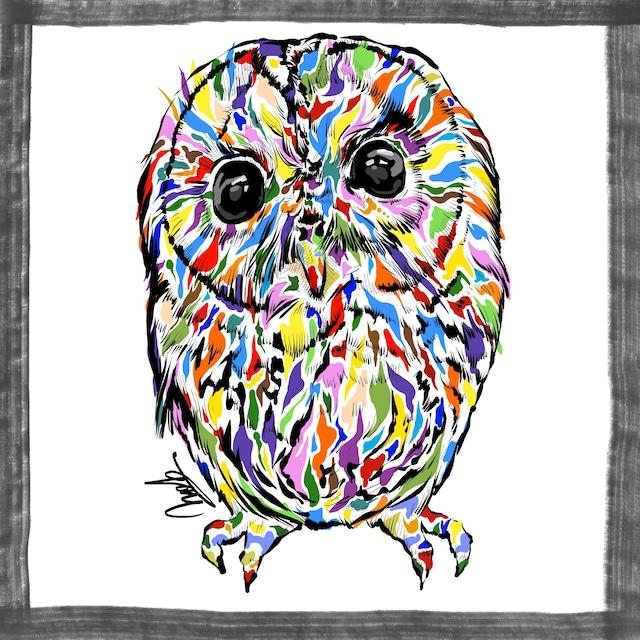 絵画 絵 ピクチャー 縁起画 モダン シェアハウス アートパネル アート art 14cm×14cm 一人暮らし 送料無料 インテリア 雑貨 壁掛け 置物 おしゃれ フクロウ ふくろう 梟  現代アート ロココロ 画家 : nob 作品 : owl