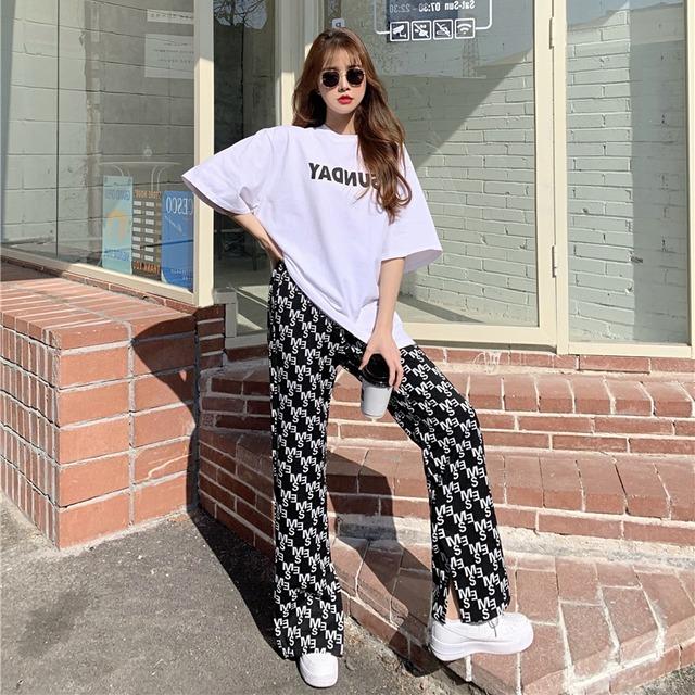 【セットアップ】アルファベットプリントファッションカジュアルパンツ+アルファベットTシャツ43343948