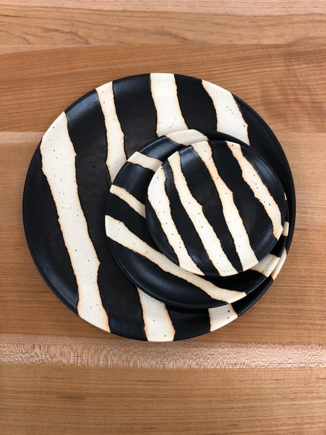 【陶factory509】モノクロ皿 25cm