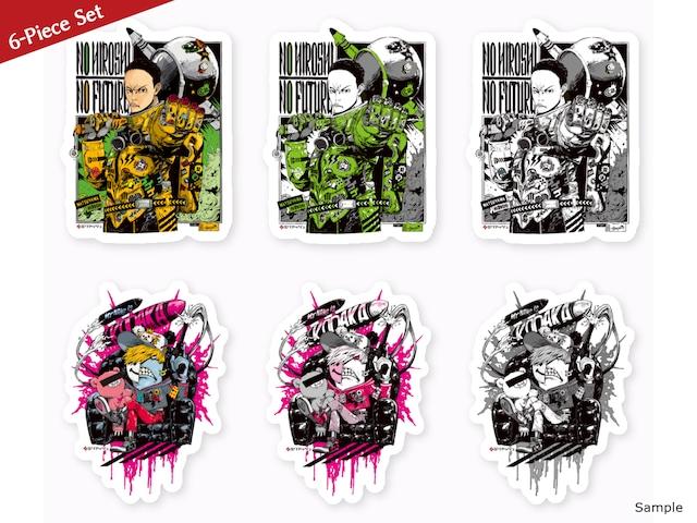 [15% OFF, 6-piece set] Collaborative Stickers by Hiroshi Matsuyama (CyberConnect2), Kazutaka Kodaka (Tookyo Games) and jbstyle.