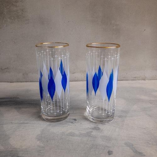 青のレトロなコップ-2個セット