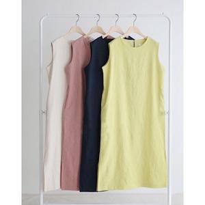【YELLOW:即納】LINEN DRESS -4color-
