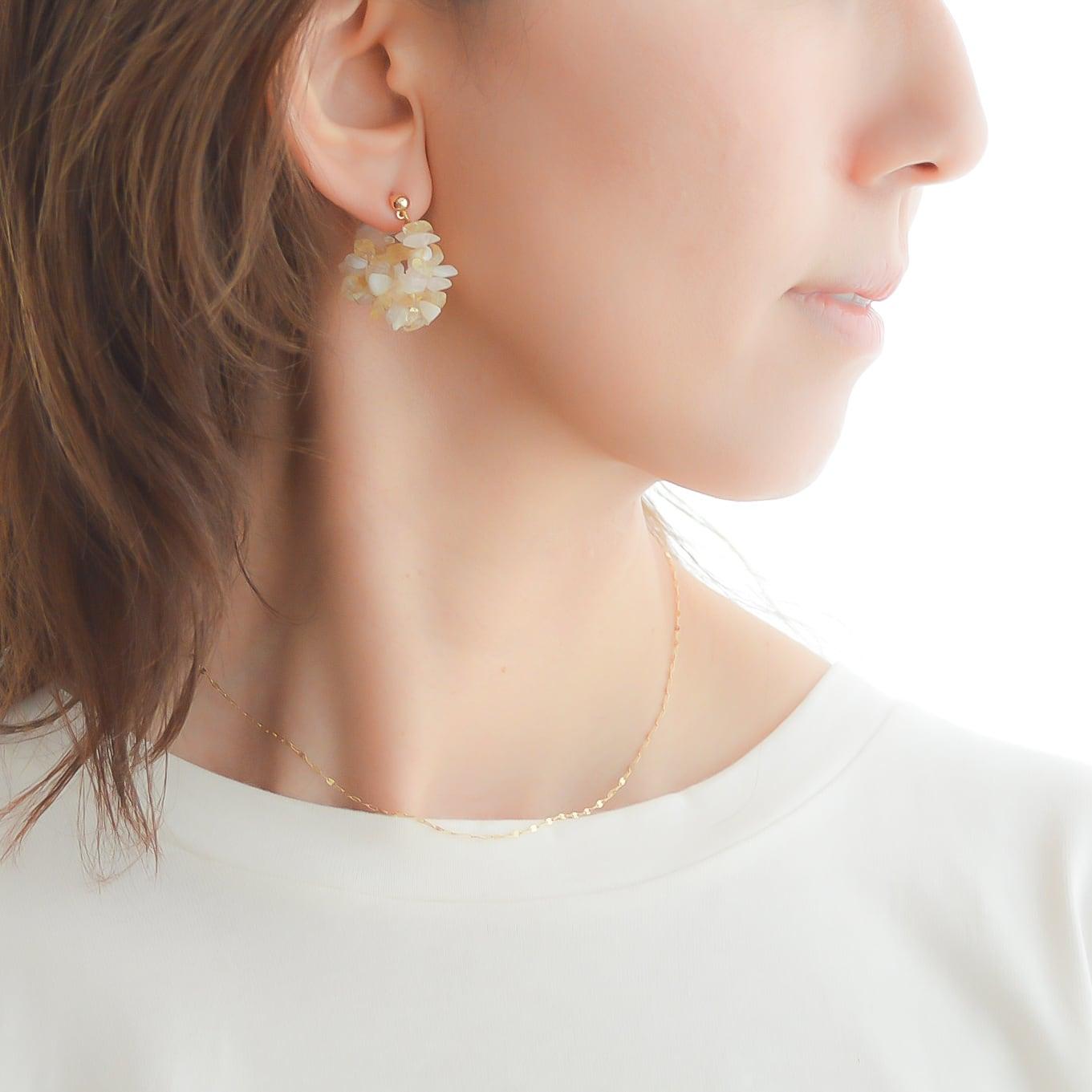 natural color stone hoop pierce/earring