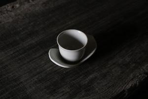 豊増 一雄 白瓷花蓮華茶托