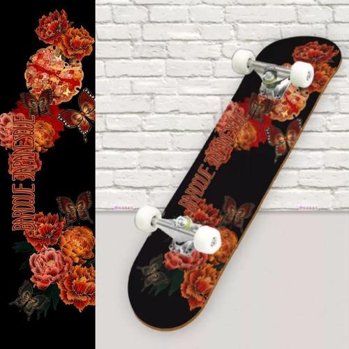 和風牡丹と蝶 スケートボード裏面保護シート
