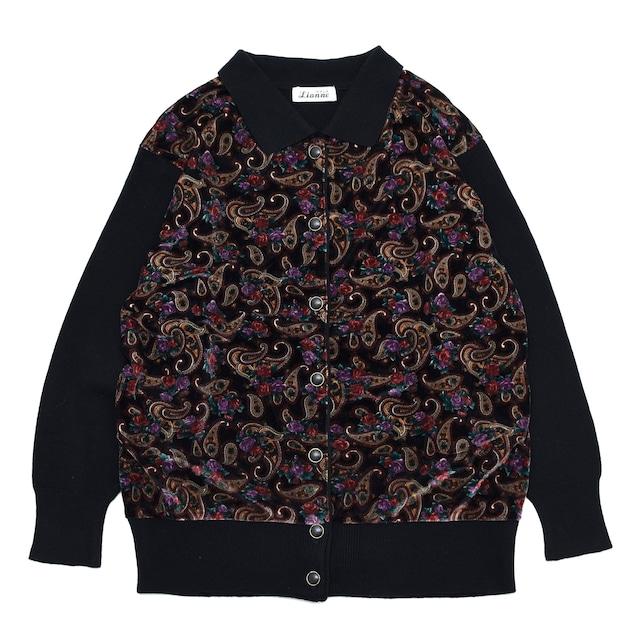 paisley pattern velour switch knit shirt