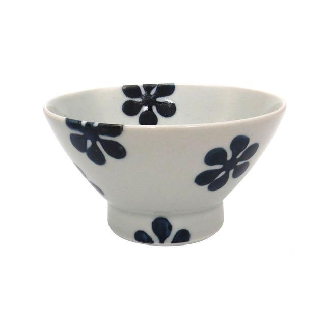 波佐見焼 24to3 和山窯 くらわんか 飯碗 茶碗  約12cm 藍花 WZN-33