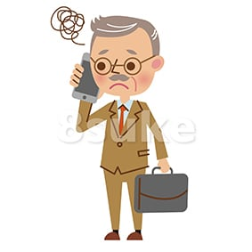 イラスト素材:スマートフォンで通話する熟年のビジネスマン/困った表情(ベクター・JPG)