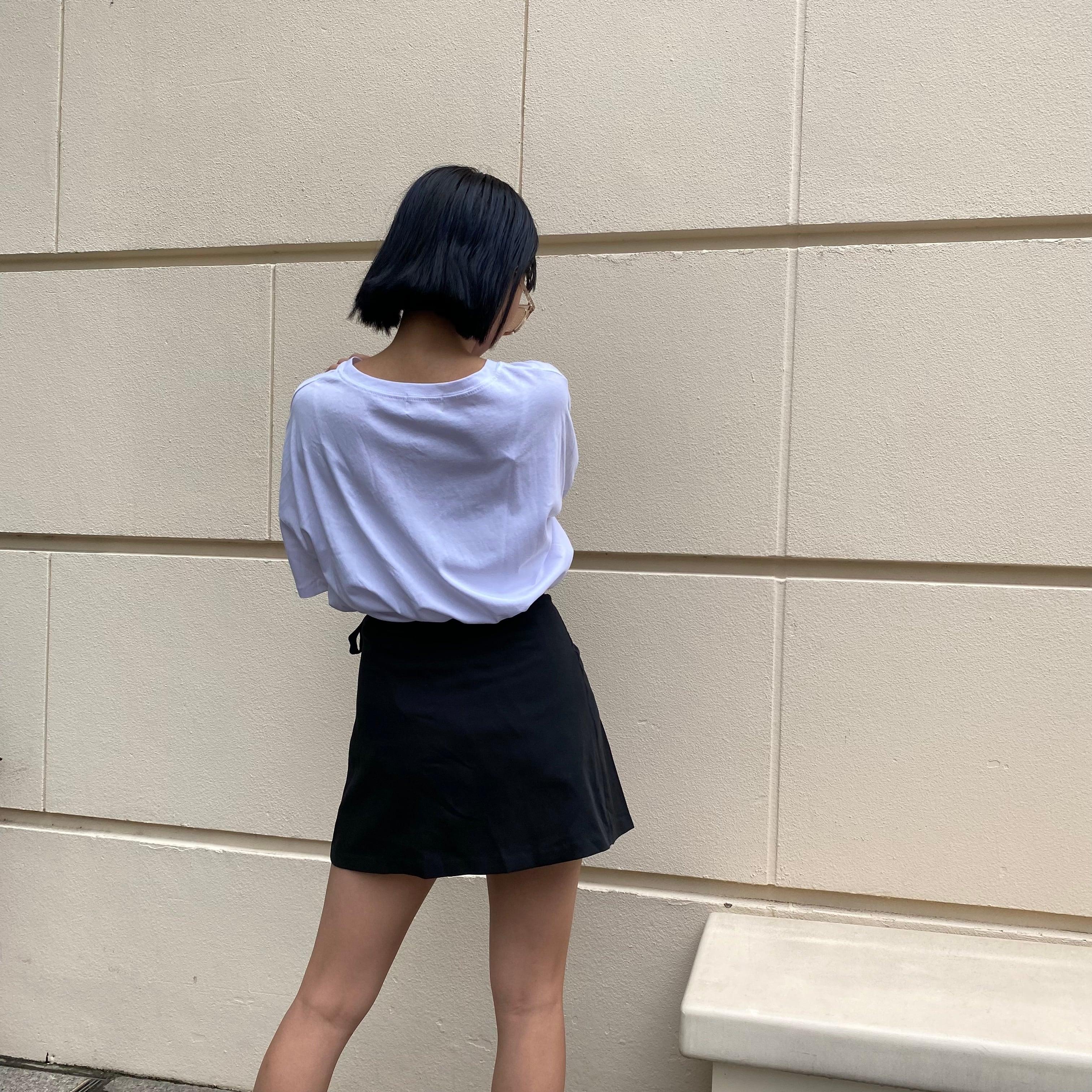 【Belle】strap pleats mini skirt / black