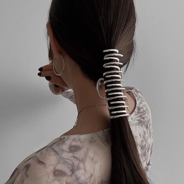 metallic jagged hair clip