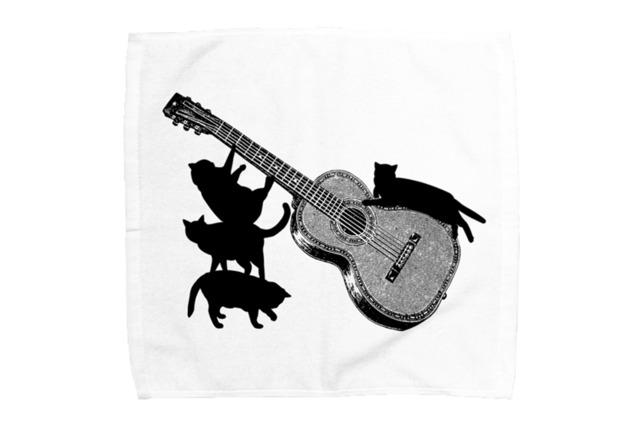 ギターと黒猫のミニタオル