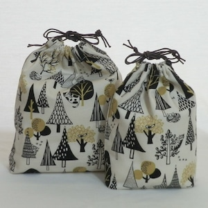 巾着袋/鳥と猫の林 巾着2点セット (5-199)