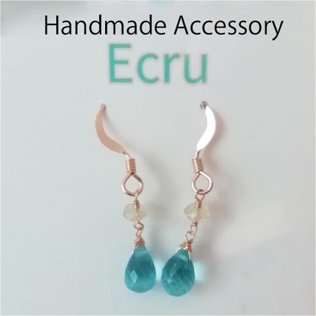 Handmade Accessories Ecru:アパタイトとヘリオドールのピアス ブルー