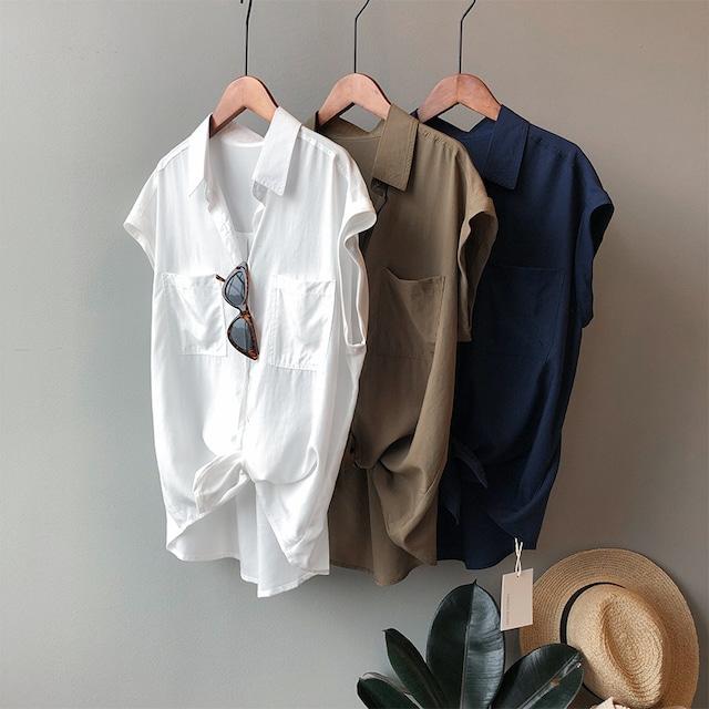 ノースリーブのフレンチシャツ 3色 【TS0621】