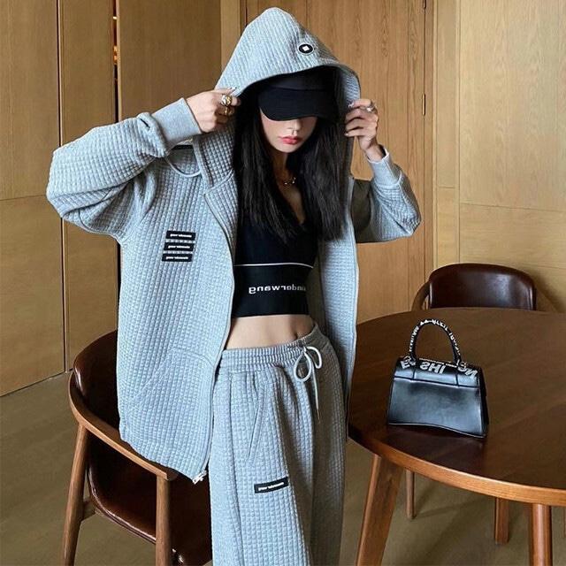 【セット】ファッション長袖フード付きジッパージャケット+パンツ52179075