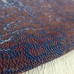 正絹 深いモカ色にブルーの花鳥のはぎれ 帯揚げに