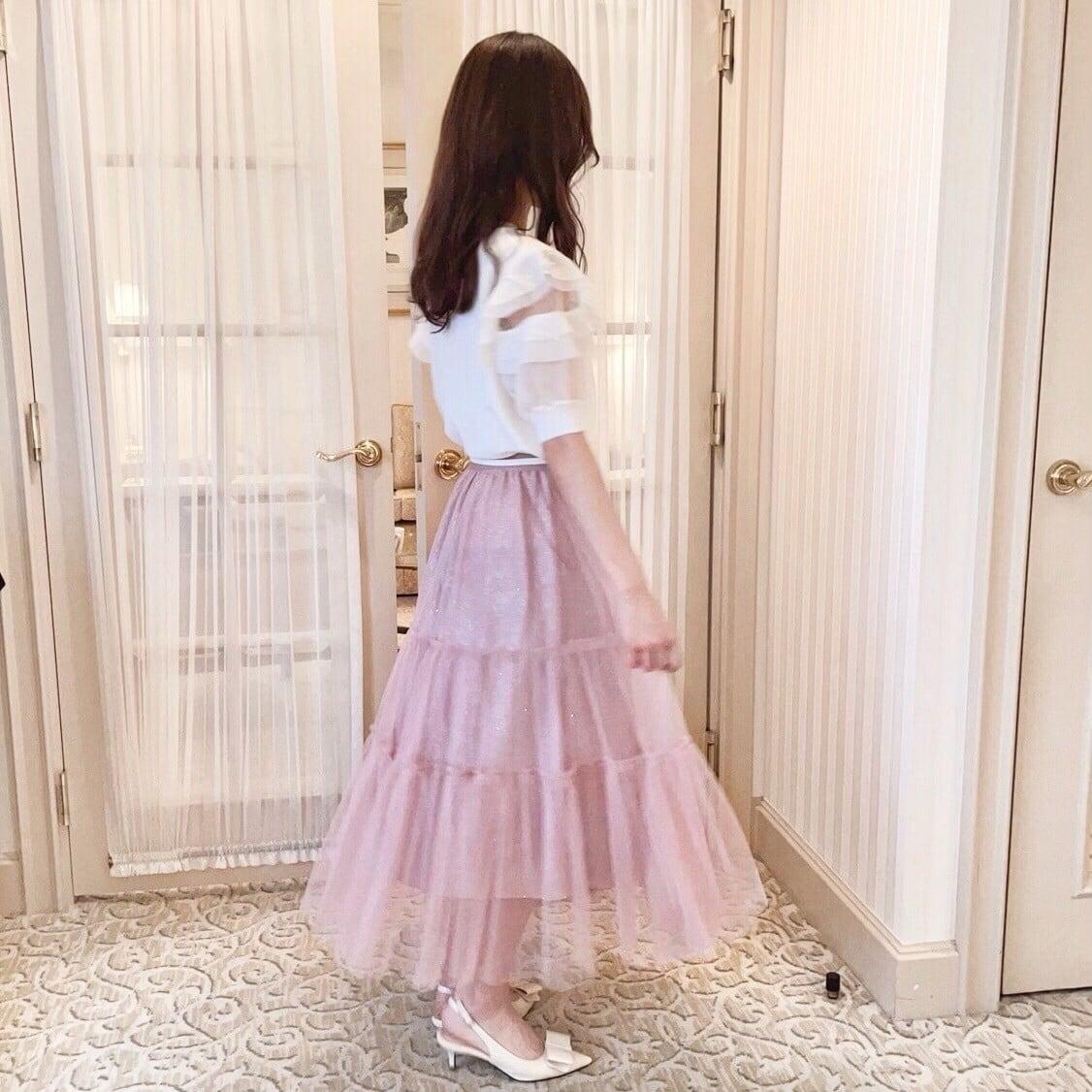 【Fluffy】チュールティアードスカート