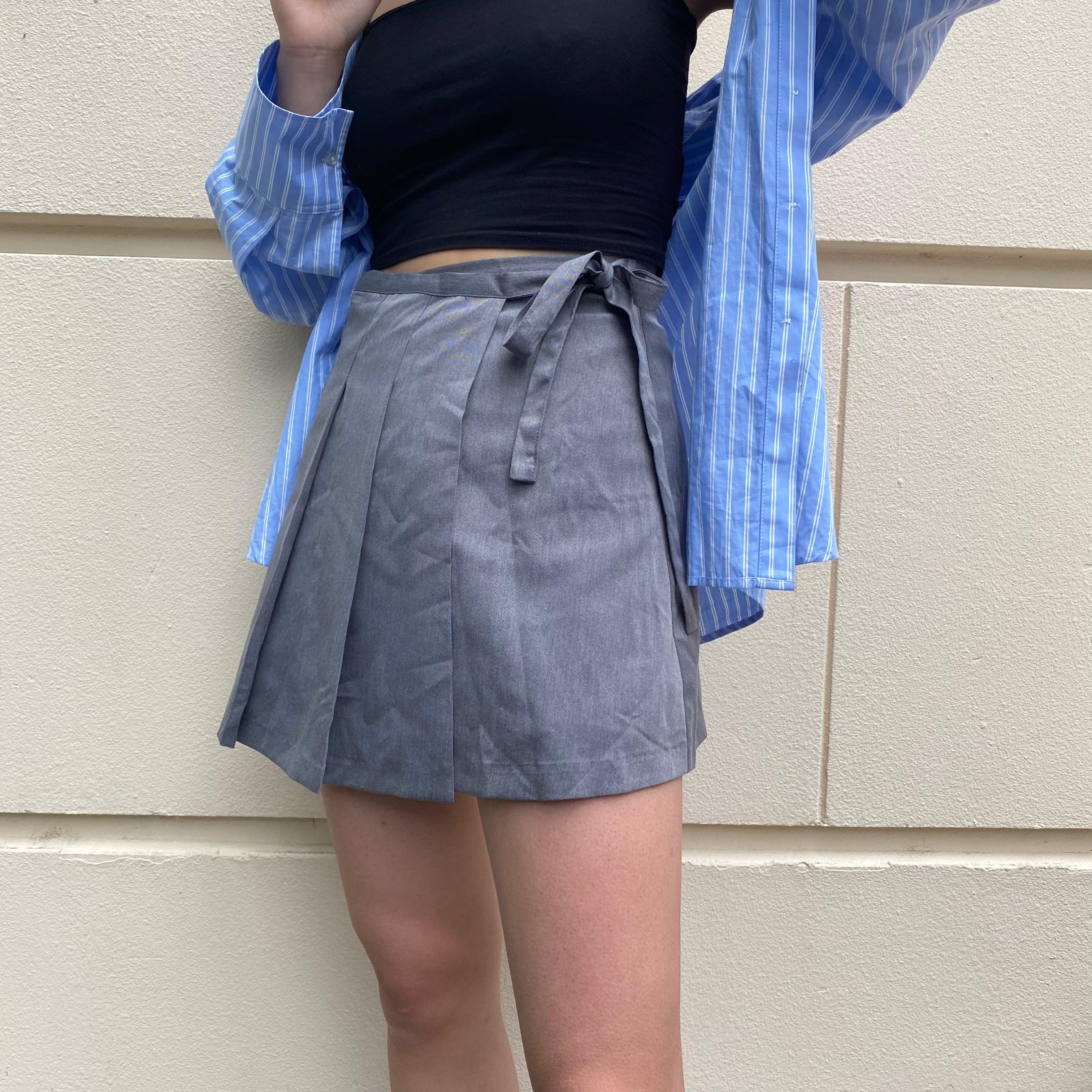 【Belle】strap pleats mini skirt / gray