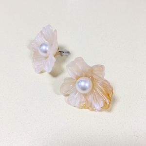 PIERCINGS || 【通常商品】POTTERY STYLE FLOWER PIERCING || 1 PAIR || PINK || FCF255
