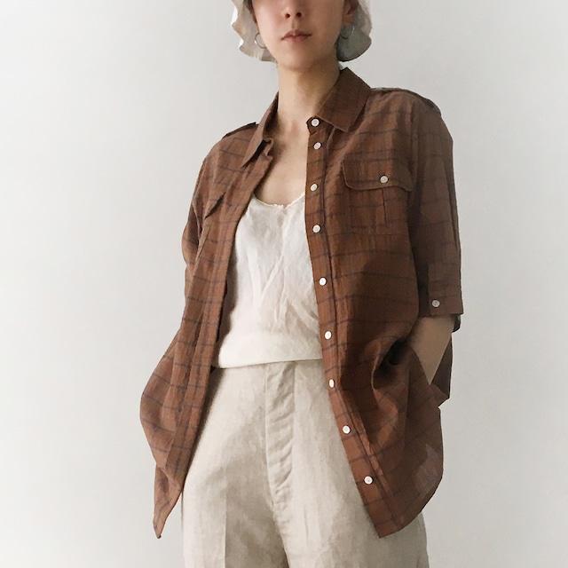 """Short sleeve  safari shirts """"brown check"""""""