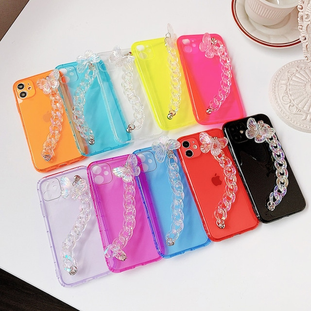 Fluorescent butterfly chain iphone case