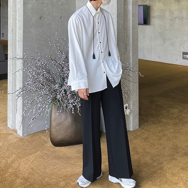 High-end drape shirt   b-411