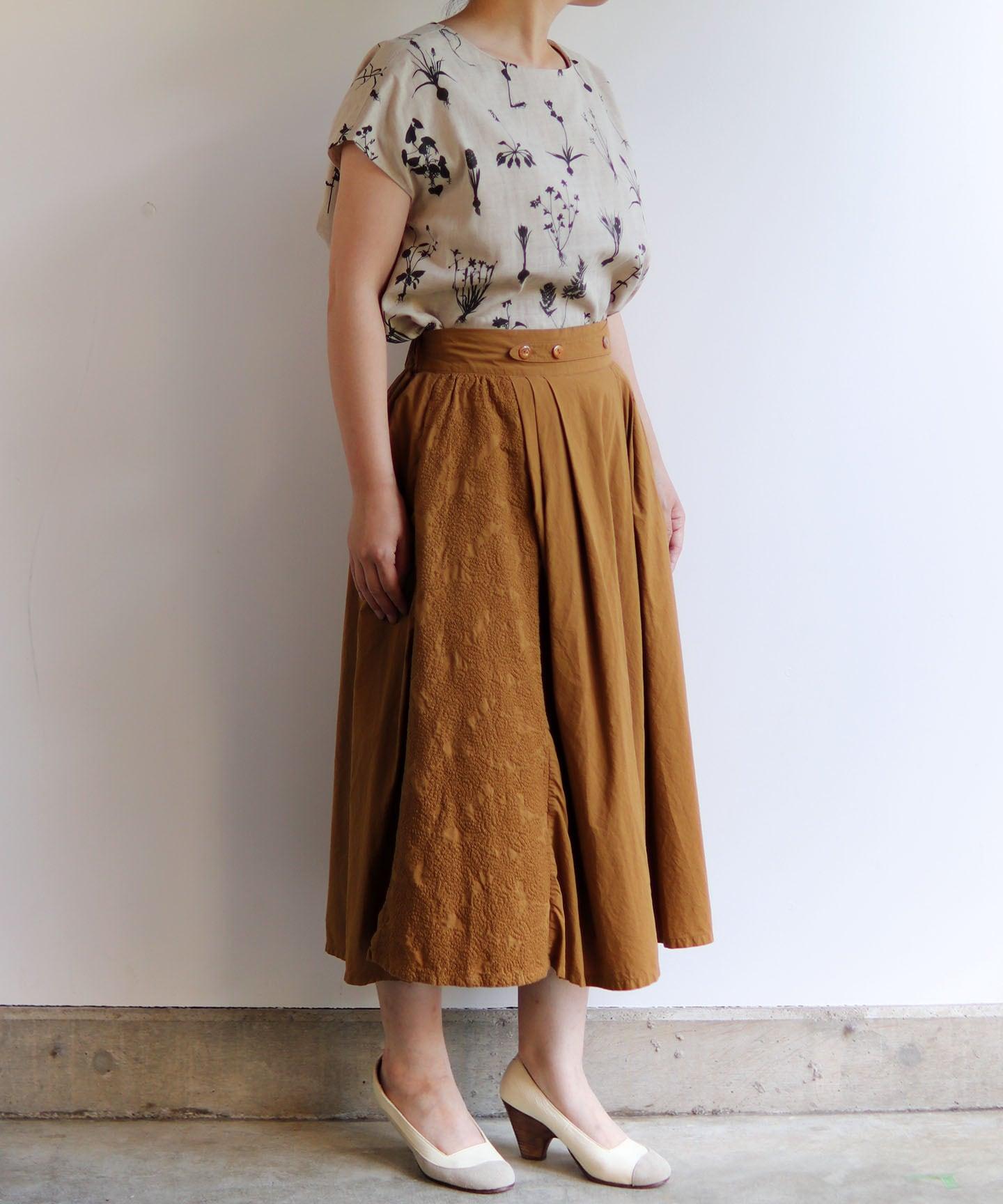 フラワーノット刺繍のスカート(muc206)