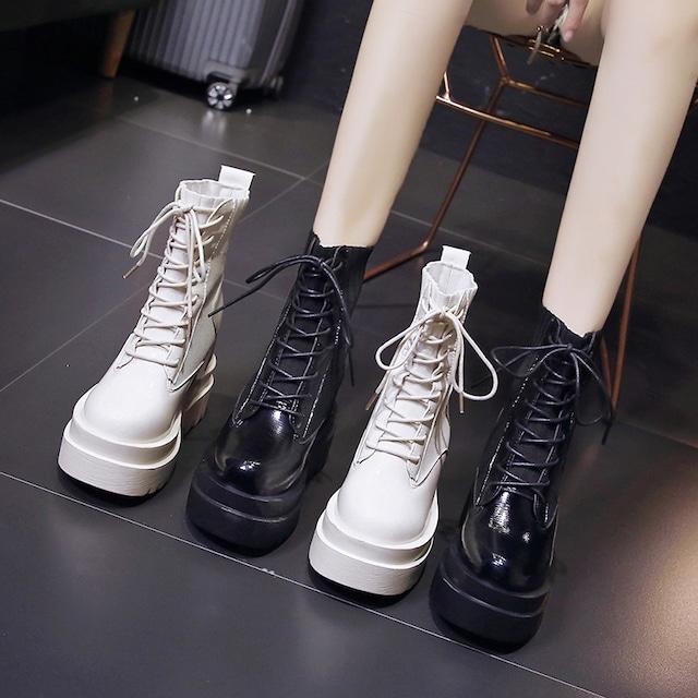 【シューズ】ファッション丸トゥ人気合わせやすいPU厚底ショート丈ブーツ33437727