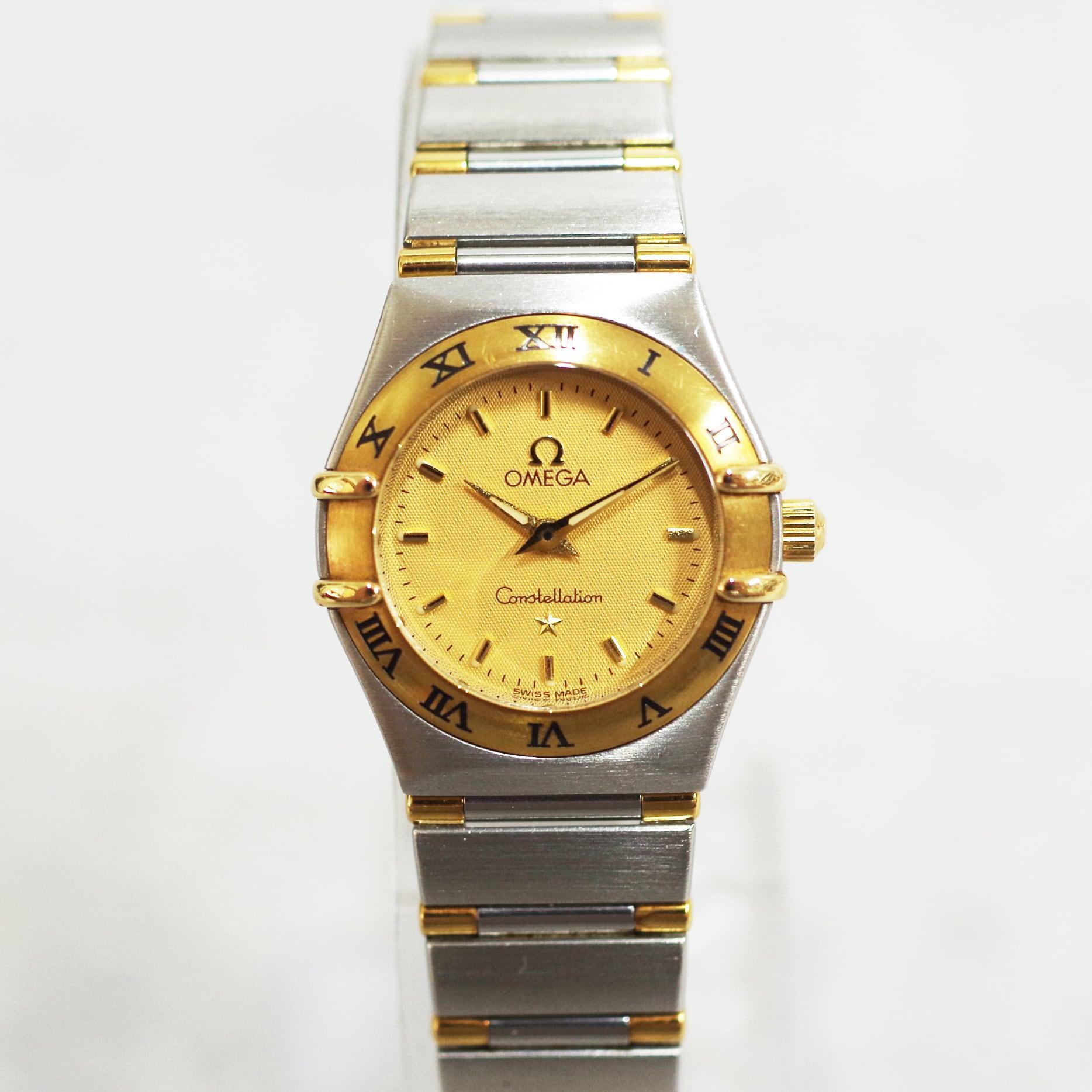 OMEGA オメガ コンステレーション ゴールド文字盤 コンビ SS YG クォーツ 腕時計 レディース