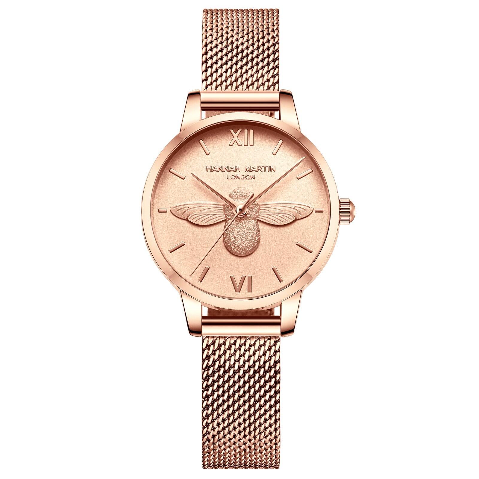 HMステンレススチールメッシュ腕時計トップブランドラグジュアリージャパンクォーツムーブメントローズゴールドデザイナーエレガントなスタイルの時計女性用HM-112F