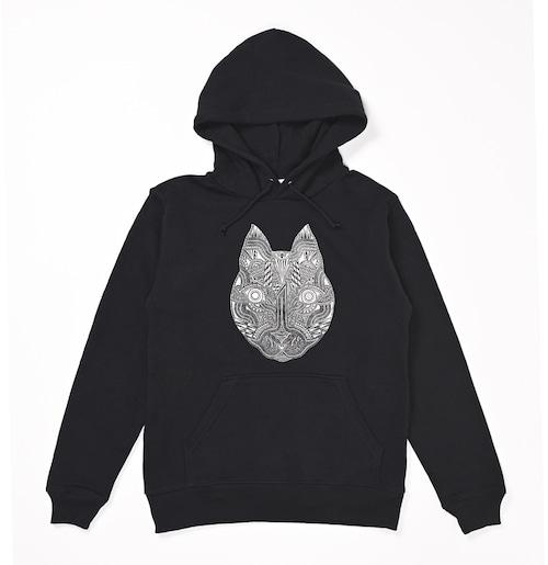 ◆Apsu Shuseiコラボ◆「世界一怪談を聞いている猫」パーカー BLACK×WHITE